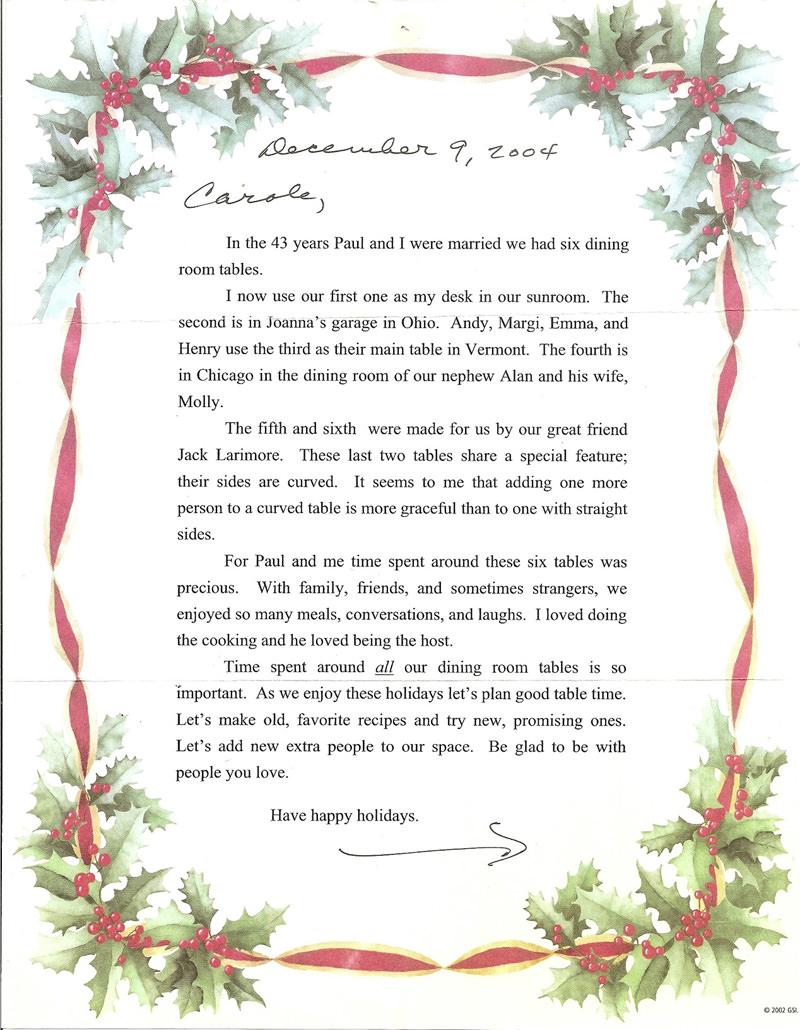 Joan Putney Letter