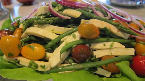 Abhishek Duggal 's Yellow Heirloom Tomato Caprese with Asparagus and Green Beans